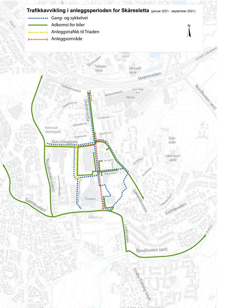 Dette kartet viser hvordan gående, syklende og bilister skal komme seg fram når deler av Skårersletta stenger i februar 2021 og fram til september 2021.